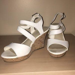 White strap wedges